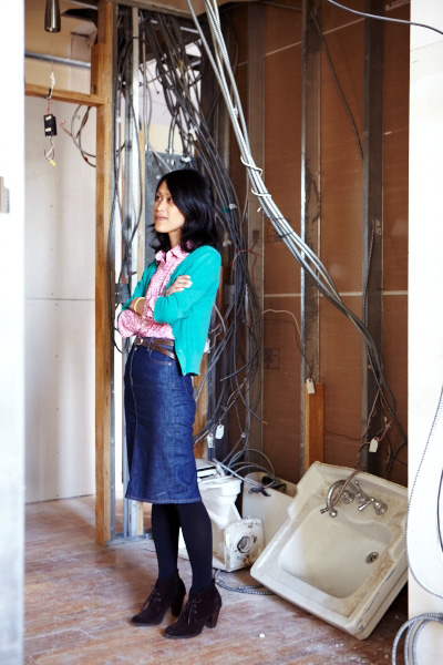 Yen Ha at her new apartment in Tribeca.  Photographed during the middle of renovations.