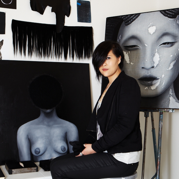 Amie Lin in her studio in NYC.  Photography by Kristin Gladney.