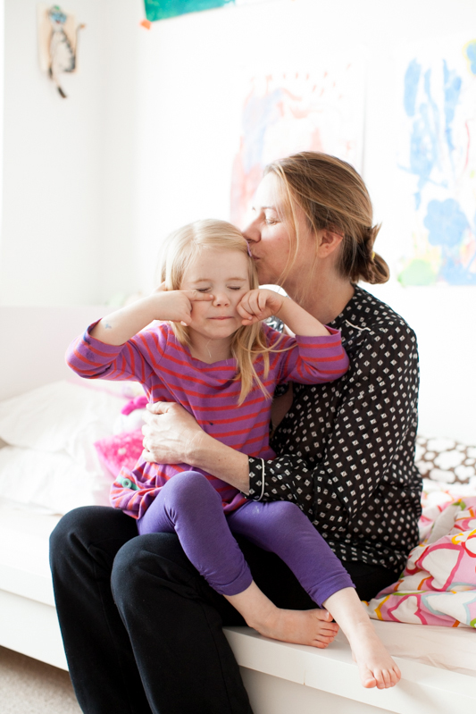 Kristen Mulvihill and her daughter at home in NYC
